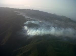 Imagen aérea incendio La Gomera